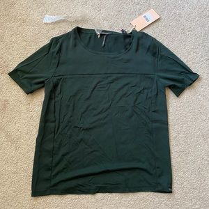 Scotch and soda forest green tee with blouse layer